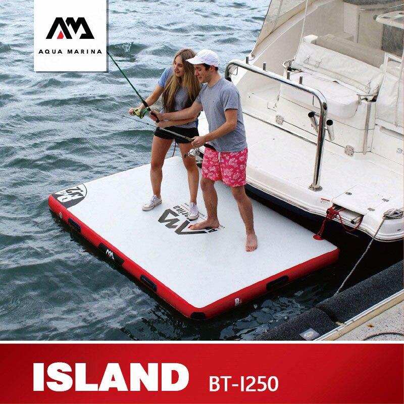 AQUA MARINA île plaque flottante Surf planche flottante Inflation Surf pêche Plate-forme Plate-forme de travail 250*160*15cm