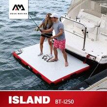 AQUA Марина остров плавающей пластины Surf доска для плавания инфляции серфинг Рыбалка на платформе Рабочая платформа 250*160*15 см