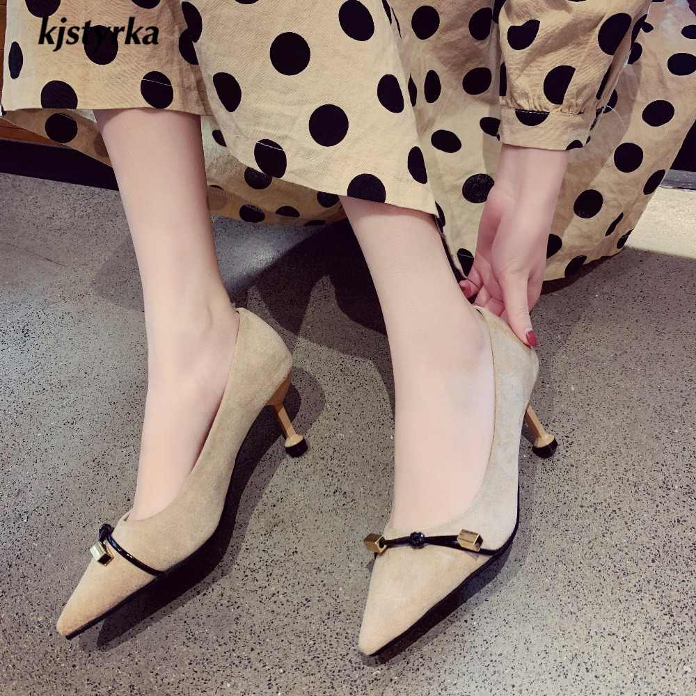 kjstyrka 2019 flock comfortable fashion elegant concise women pumps office dress pointed toe 6cm thin heels zapatos mujer tacon