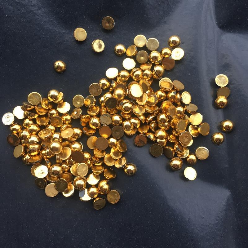 Серебряные и золотые полукруглые бусины из АБС-пластика с плоской задней поверхностью и жемчугом для украшения ногтей своими руками 100 шт-200 шт