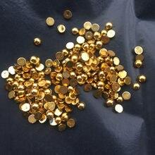 Silber & Goldene Halb Runde Flatback Harz ABS Perle Perlen Für DIY Nagel Kunst Dekoration Telefon Dekoration 100 stücke-200 stücke