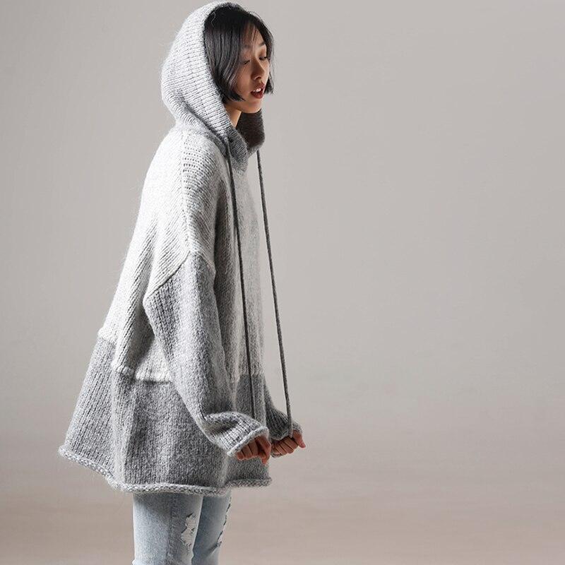 M7103 예술적 큰 크기 느슨한 후드 컬러 맞춤법 두꺼운 세련된 게으른 스웨터-에서풀오버부터 여성 의류 의  그룹 1
