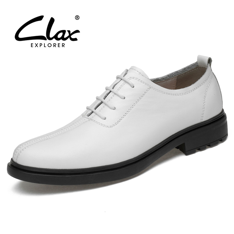 CLAX Mens Dress Shoes Oxfords Genuine Leather Spring Autumn Formal Shoes Male social shoe White Wedding Shoes chaussure homme fashion skull print mens top leather dress shoes designer elevator wedding shoes for men business oxfords chaussure homme