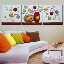 3 Pieces Hand Painted Palette Knife Oil Painting Wall Art Canvas Picture Modern Abstract Home Decor Living Room