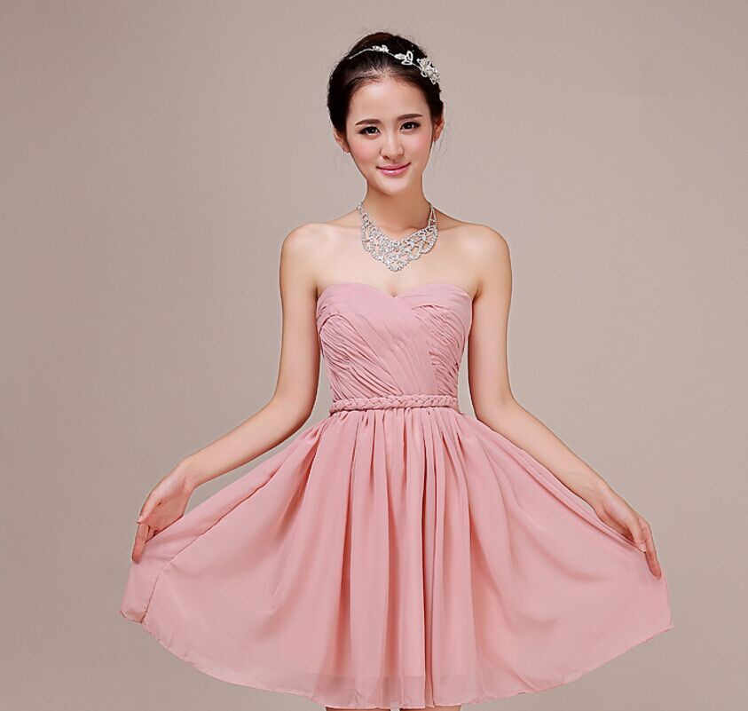 ... Dusty Pink Bridesmaid Dresses Halter Pleat Cheap Custom made Mix style  Bridesmaid Dresses Prom Party Dress 6a38774e5706