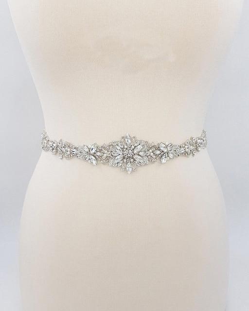 MissRDress Silver Diamond Wedding Belt Handmade Rhinestones Bridal Sash Crystal Pearls Bridal Belt For Wedding Gown JK935