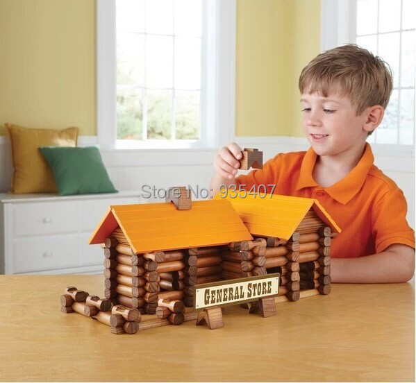 цены New wooden toy Baby Early educational toy 165PCS built the cabin Lincoln real log creative building blocks toy Wooden toys