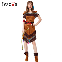 JYZCOS Indian America Aborigines Costume Bowman Cosplay Halloween Costumes for Women Party Fancy Tassels Dress
