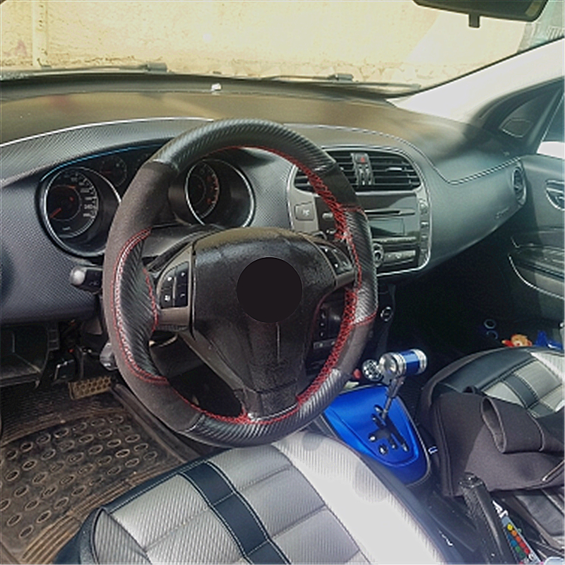 SUNZM DIY Steering Wheel Cover 38cm Genuine Suede Leather Braiding On Steering-wheel With Needle And Thread Interior Accessories
