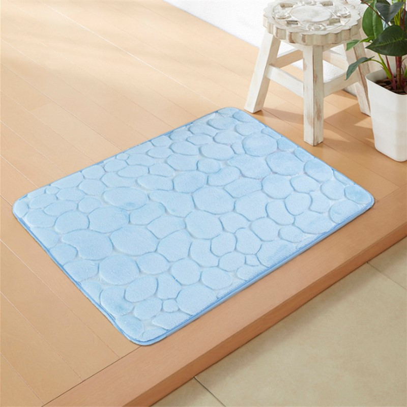 5 Colors New Flannel Fabric Memory Foam Bath Mats Bathroom Pebbles Stripes Rug Non Slip 40 60 Mat In From Home Garden On