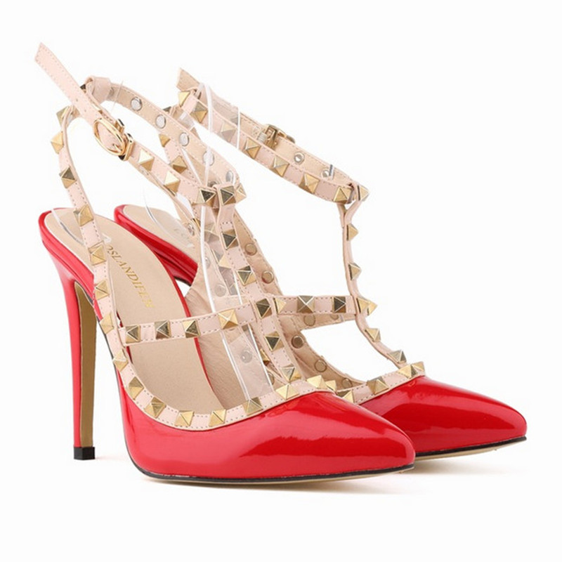 Plus Size 42 Summer Rivet Sexy High Heels Sandals Pointed Toe Women Shoes Ladies Fashion Party Shoes Zapatos Mujer 2016 summer high heels16cm sexy waterproof 4cm party women s shoes plus size factory outlet real picture
