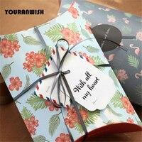 Yeni 10 Adet/grup 140x190mm Retro Tarzı Çiçek Karton Yastık Hediye Kutusu Şeker Kutusu Düğün Favor Kağıt hediye Kutusu Bebek Duş
