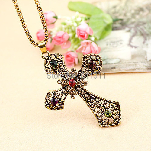 Vintage Antique Bronze Pated Multicolor Crystals Cross Pendent Chain Necklace Fashion
