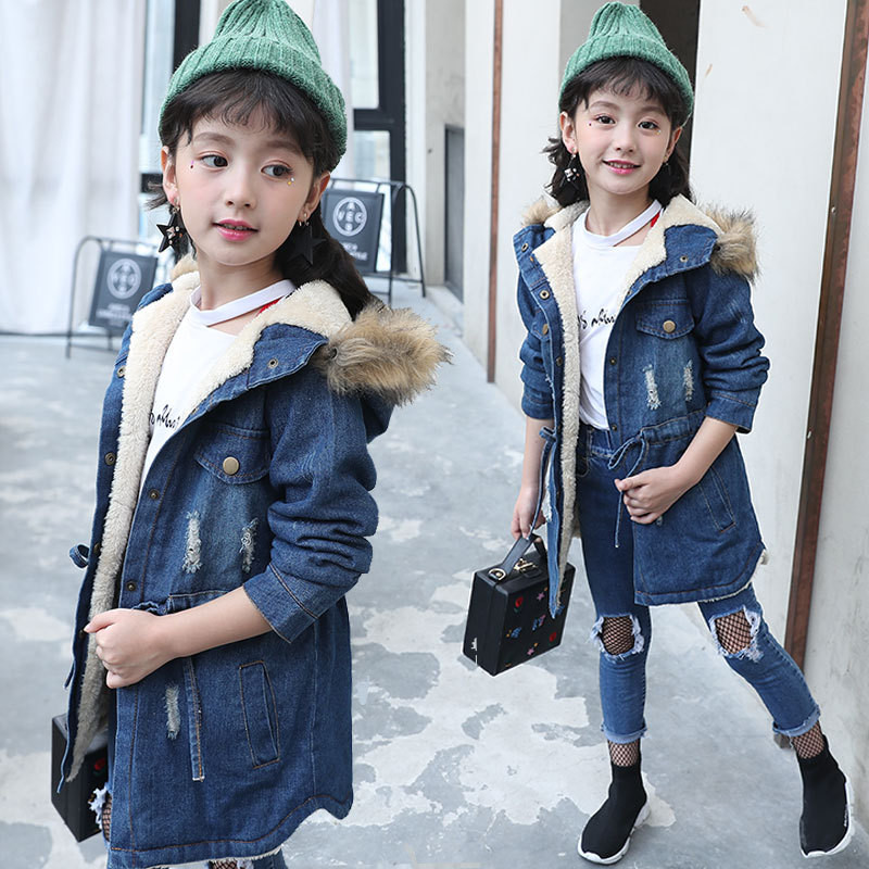 New Girls Winter Coat Faux Fox Fur Hoodie Detachable Jeans Jackets Children's Outerwear Baby Girl Thicken Warm Coat