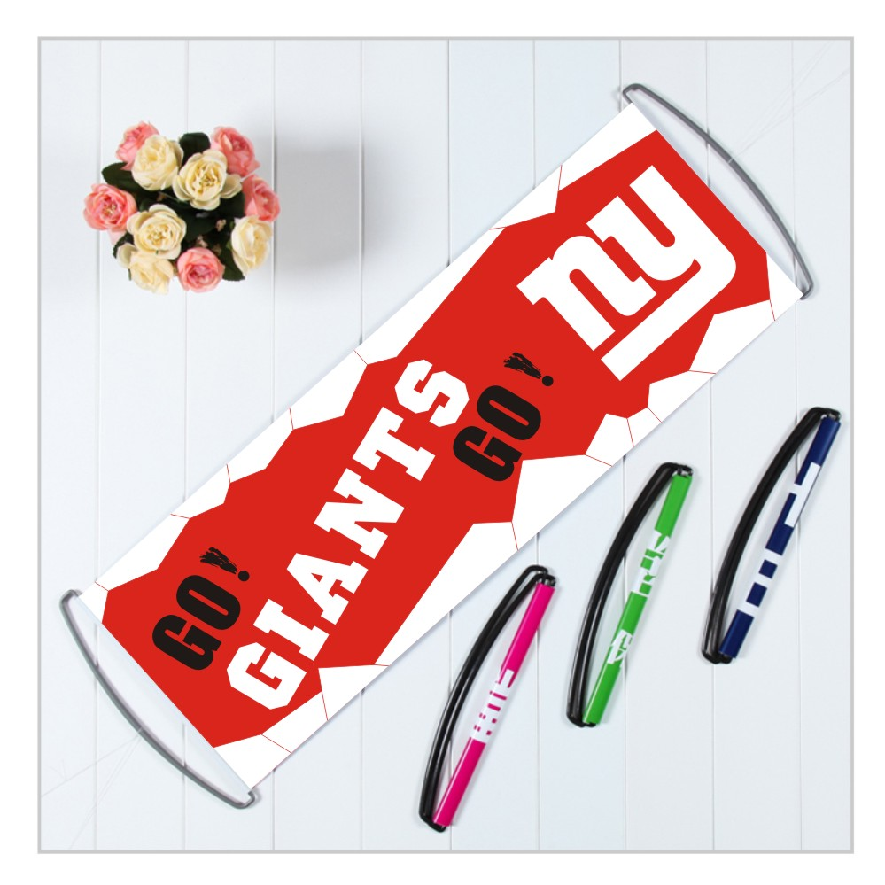 Qiaomu store Custom New York Giants banners with handle,polyester pongee America football team flags,24X70CM printed banners