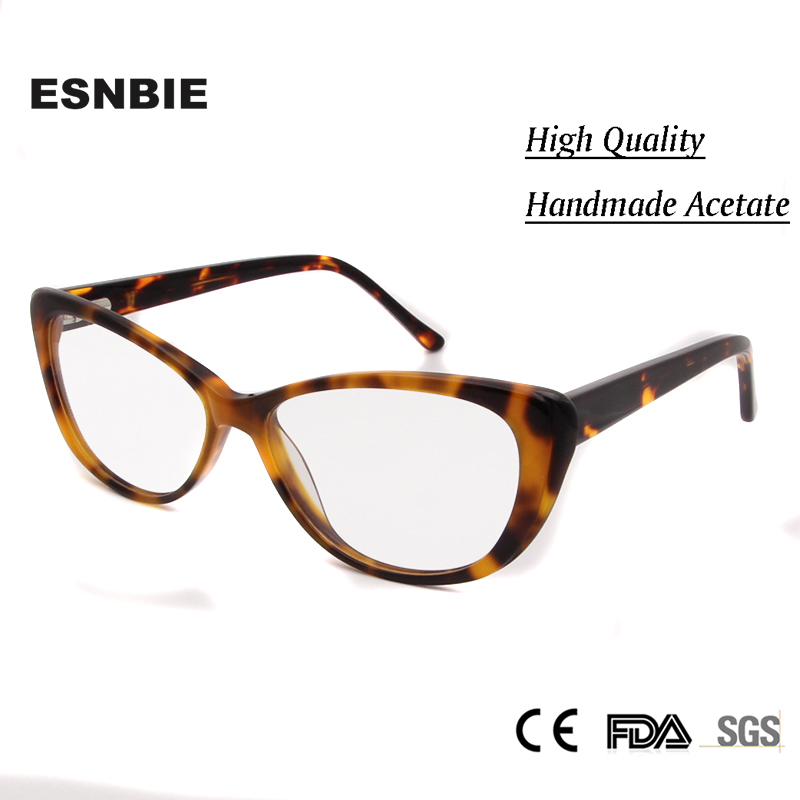 ESNBIE Sexy Ladies Cateye Optical Glasses Cat Eyes Fashionable Myopia Glasses Women Female Clear Glasses Lunette Transparente