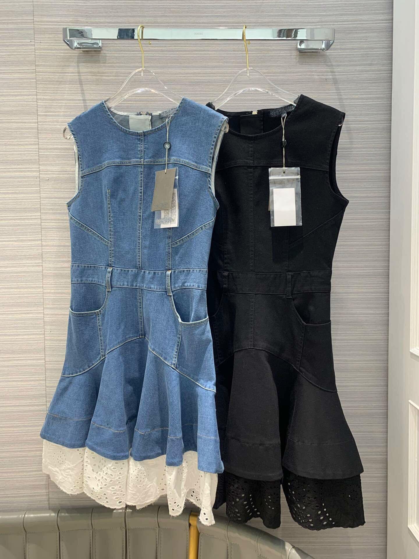 2019 nouveau Denim couture broderie ajouré robes de mode pour les femmes livraison gratuite