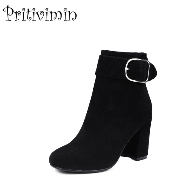 2018 New Las High Quality Office Shoes Woman Genuine Leather Fashion Buckle Thick Heels Ankle