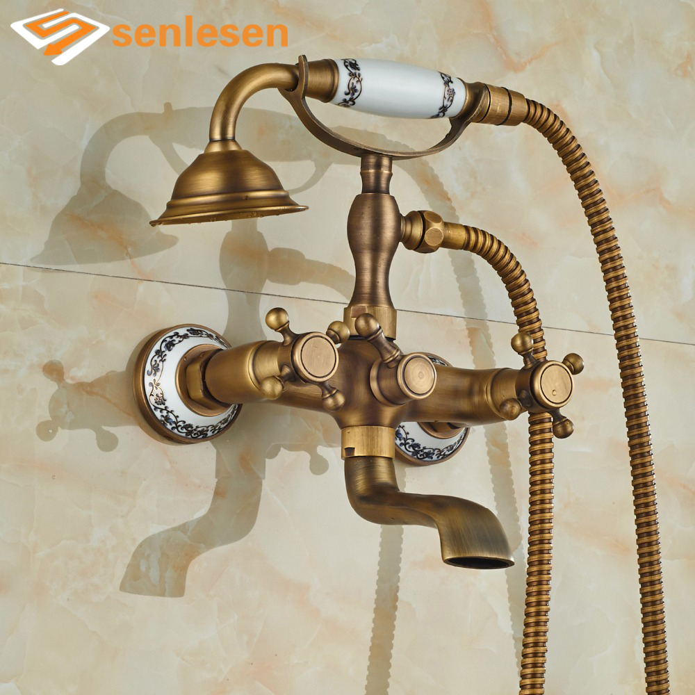 Wholesale And Retail Promotion Antique Brass Bathroom Tub Faucet W/ Hand Shower Sprayer Shower Mixer Tap