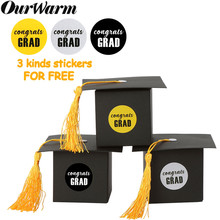 OurWarm 36pcs Graduation Paper Candy Gift Box Grad Cap Bag With Tassel Chocolate Box Graduation Party Favor Supplies Decoration(China)
