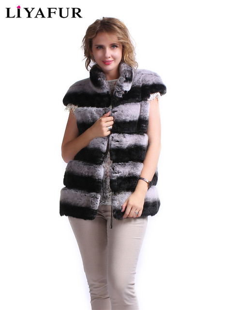 LIYAFUR New Design Natural Rex Rabbit Chinchilla Fur Vest Fashion Gilet Fur Stand Collar For Women Warm Waistcoat Cover Shoulder