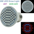 E27 6W 44Red/16Blue 2835SMD 60leds AC85-265V LED Grow Lamp Light For Horticulture Plants Greens Hydroponic System Free Shipping