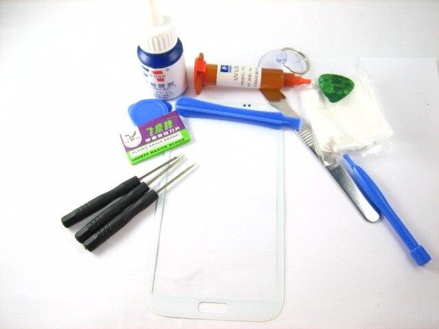 Переднее Стекло (без ЖК-Дисплей С Сенсорным Экраном) + полный Набор Инструментов + Отвертка + Клей + Разрыхлитель для Samsung Galaxy Note 2 Белый