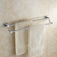 Chrome Polished Brass Double Towel Bars Towel Shelf Double Towel Bar Rod Holder Bath Accessories