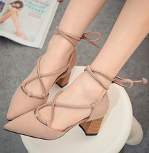 2016 New Shoes Korean Simple Crude High-heeled Pointed Shoes Hollow Instep Strap  Elegant Shallow Mouth Ladies Shoes Size35-39