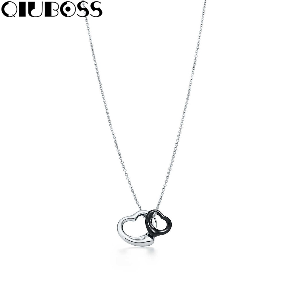 QIUBOSS S925 TiffanySilver 925 sterling silver heart-shaped men and women double heart clavicle chain pendant necklace black fashion custom lettering 925 silver love heart shaped couple necklace peach heart pendants for men and women yp3196