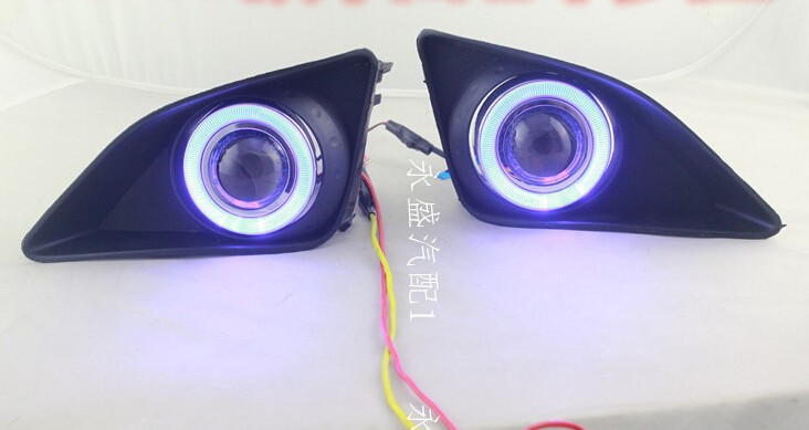 высокое качество cob ангел глаз Е13 проектор объектива противотуманные лампы 5 цветов светодиодные фары дневного света для Тойота Королла 2006-2010, одна пара