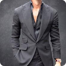 Остроконечные нагрудные серый мужские свадебные костюмы slim