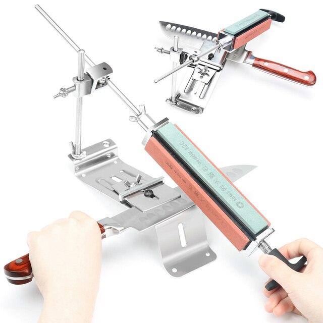 Afilador de cuchillos de cocina de acero y hierro, herramientas profesionales de afilado fijo, ángulo fijo, piedra de afilar de 120 1500Grit, novedad de 2020