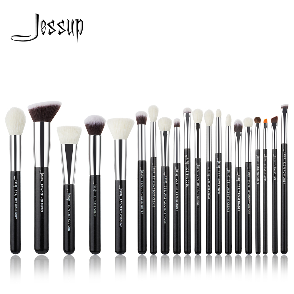 Jessup Black/Silver Professional Makeup Brushes Set Make up Brush Tools kit Foundation Powder Brushes natural-synthetic hair at fashion 12 pcs makeup brushes set studio holder portable make up cup natural hair synthetic duo fiber makeup brush tools kit