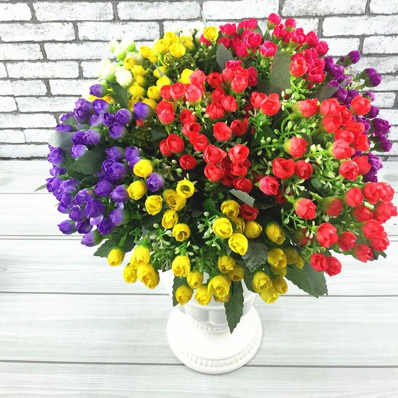 36 Heads Mini Rose Artificial Silk Flowers Home Garden flowers ...