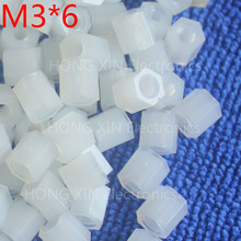 M3*6 6mm 1 pcs white nylon Black Nylon Hex Female-Female Standoff Spacer Threaded Hexagonal Spacer Standoff Spacer brand new цена