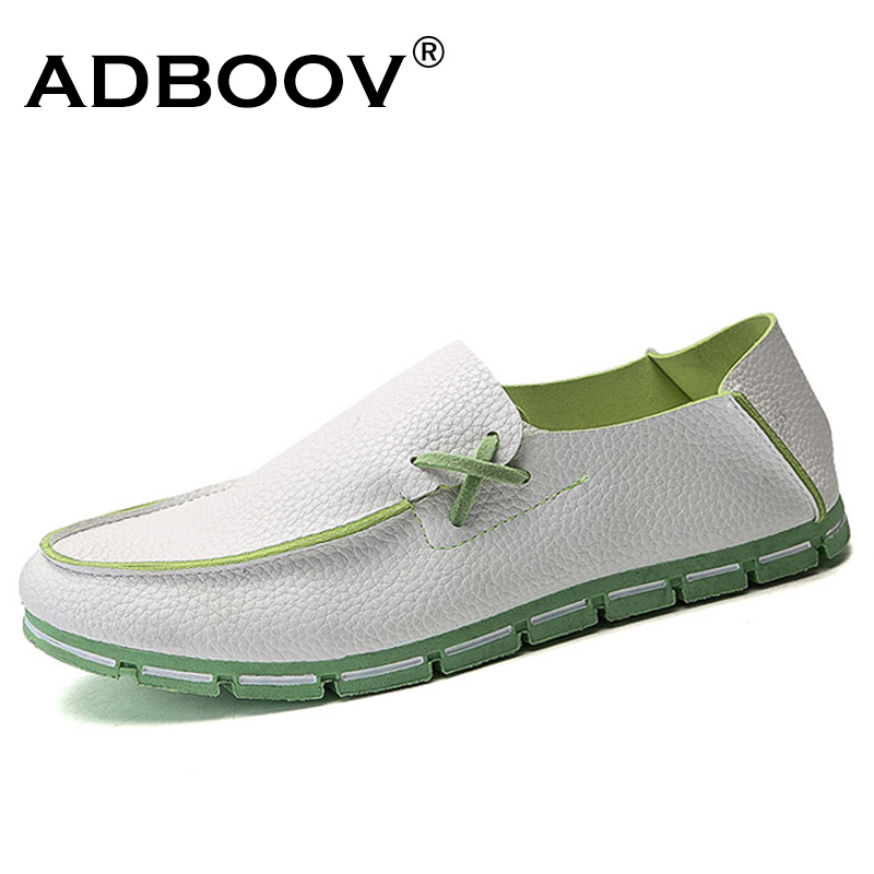ADBOOV Cheap Leather Loafers Men Slip On Flats Casual Shoes Comfy Driving Shoes Male Moccasins Boat Shoes Black / White new men leather driving moccasins shoes british hollow men s slip on loafers summer flats men shoes casual comfy breathable