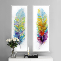 Modern Colored Feathers Hand Painted Watercolor Original Digital Inkjet Canvas Wall Art Home Decor