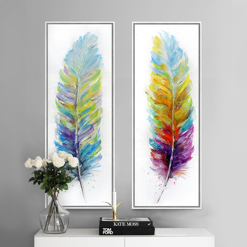 Buy color feather hand painted oil canvas for Painting feathers on canvas