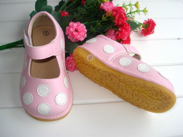 Soft Sole Baby Girl Shoes Pretty Pink Polka Dots Shoes Toddler Squeaky Shoes Soft PU Outside Genuine Leather Inner