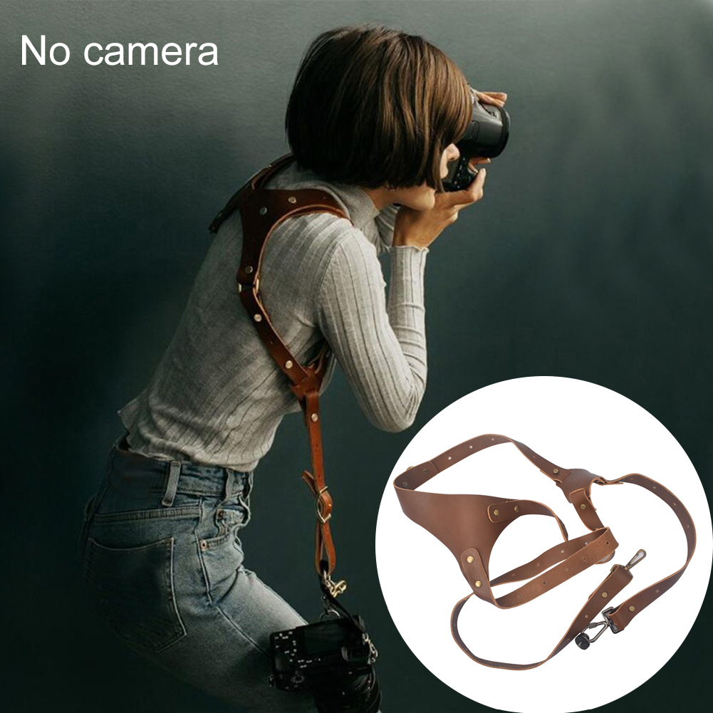 Fashion Double Shoulder Genuine Leather Universal Anti lost Carrying DSLR Adjustable Camera Strap Accessories Tether Photography