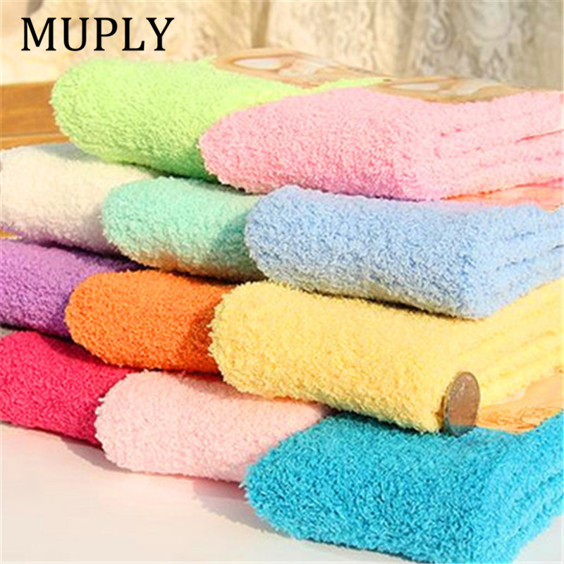 Cute   Socks   Women Bed   Socks   Pure Color Fluffy Warm Winter Kids Gift Soft Floor Home Accessories Funny   Socks   New Year's Gift