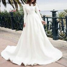 SIJANEWEDDING Long Sleeves A-line Wedding Dresses Back