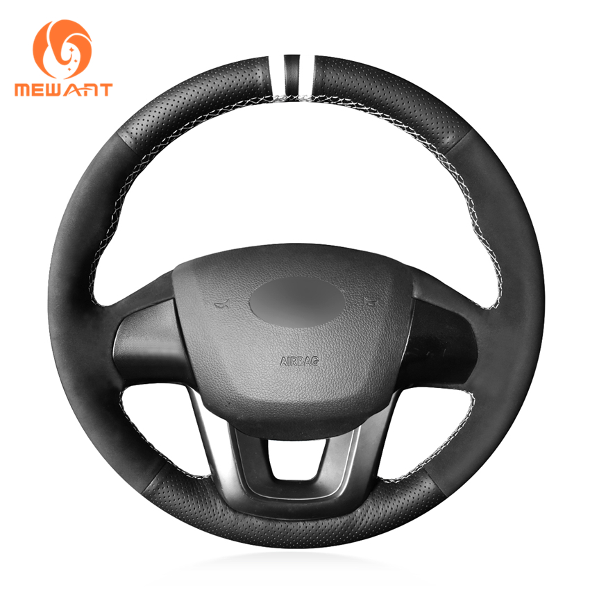 MEWANT Black Genuine Leather Synthetic Suede Hand Sew Wrap Car Steering Wheel Cover for Kia K2 Rio 2011 2012 2013 2014 2015 2016MEWANT Black Genuine Leather Synthetic Suede Hand Sew Wrap Car Steering Wheel Cover for Kia K2 Rio 2011 2012 2013 2014 2015 2016