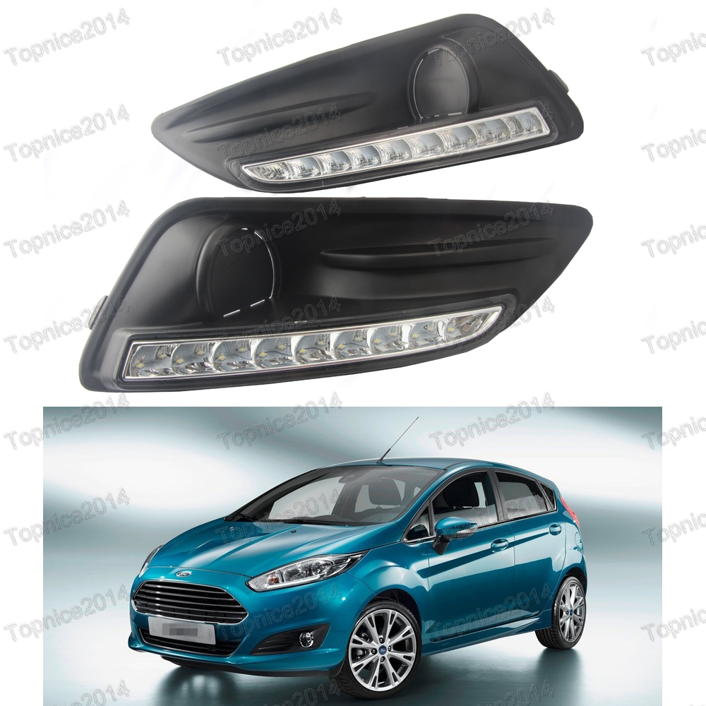 1Pair CAR DRL LED Daytime Running Lights driving fog Lamps with Fog Light Covers for Ford Fiesta 2013-2015