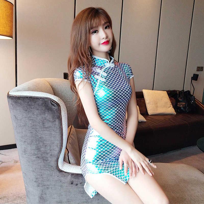 Вечернее Клубное платье для женщин, карандаш, рыбья чешуя, женское облегающее платье, сексуальное платье со стоячим вырезом для ночного клуба, женское эластичное платье s m l