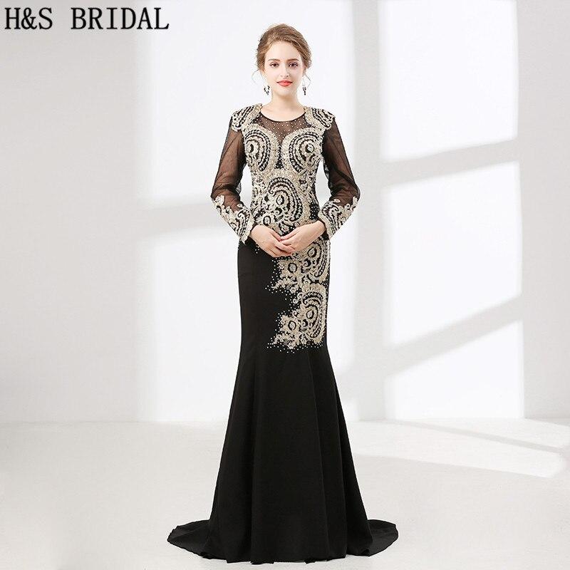 H & S mariée manches longues robes de bal noir dentelle appliques robes de soirée en cristal robe de soirée sirène robe de bal vestido