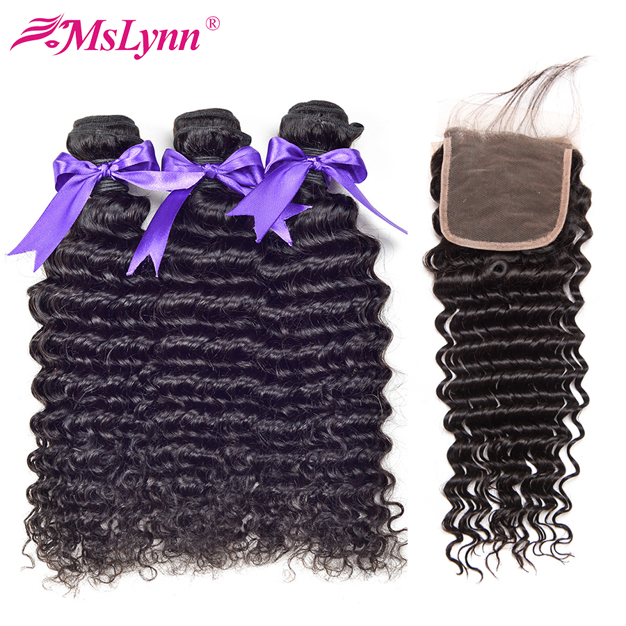 Mslynn Malaysian Hair Deep Wave Bundles With Closure Human Hair Weave 3 Bundles With Lace Closure Non Remy Hair Extensions 4Pcs