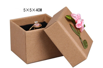 Box For Jewelry Free shipping Wholesale 70/lot 5*5*4cm Flower Ring Earring Gift Packaging Boxes Kraft Paper Boxes