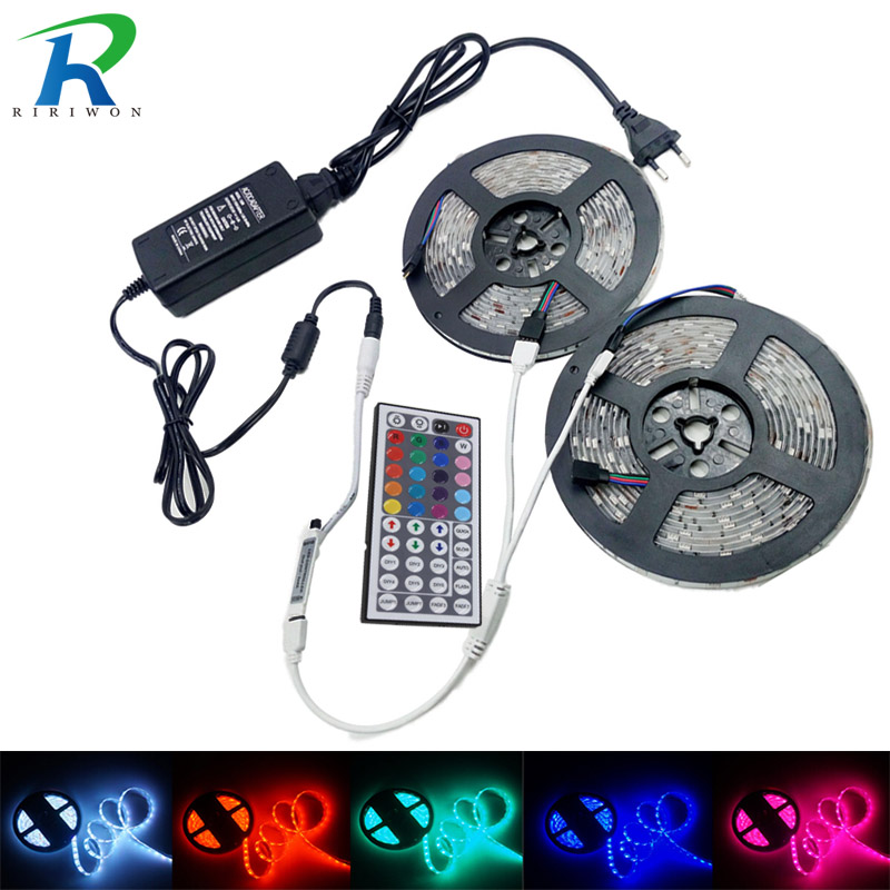 RGB Strip Led Strip Light Tape 5m 10m 15m SMD 5050 Tiras Led DC 12V Power Adapter 44keys Controller Ribbon Lighting kit EU US чумакова о цветочные мотивы книжка раскраска